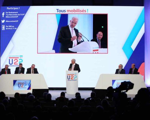 Rencontres de l'U2P 2017 - Le discours d'Alain Griset en présence des quatre vice-présidents de l'U2P et de Bruno Le Maire Crédit Photo Cocktail Santé
