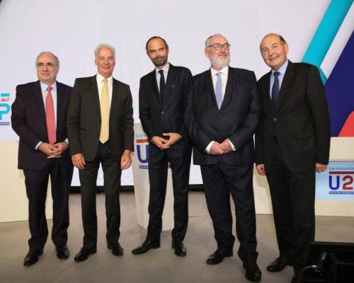 Rencontres de l'U2P 2017 – Édouard Philippe aux cotés du Président et des Vice-Présidents de l'U2P